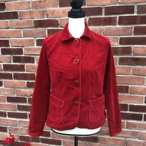 Red corduroy jacket. Button up. Talbots. 6p